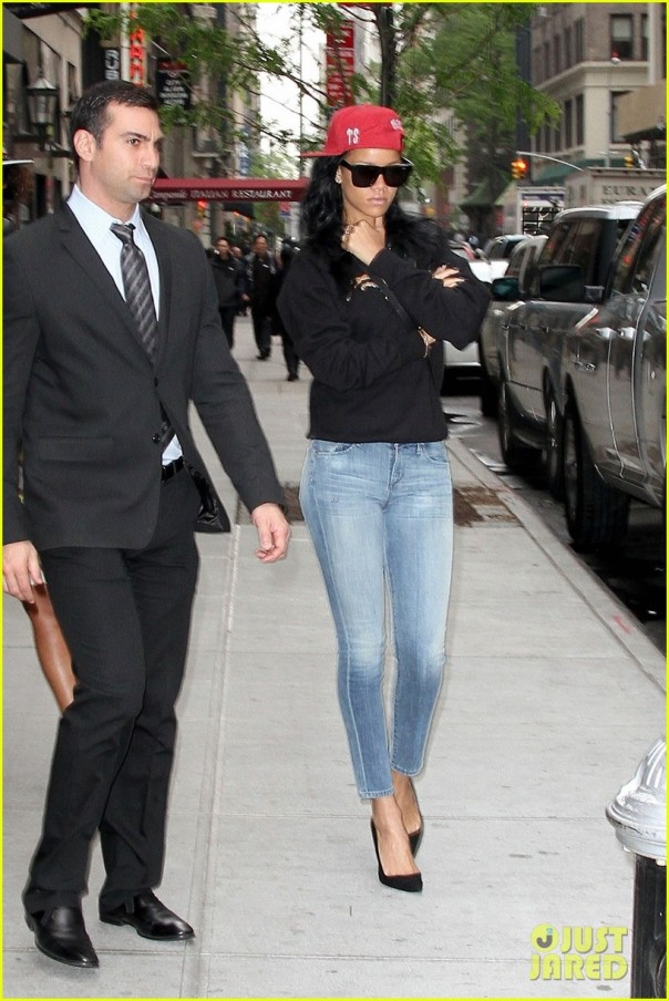 "Rihanna is seen leaving NBC Studios to practice for her live appearance on ""Saturday Night Live"" this weekend"